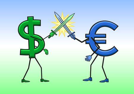 hegemony: Dollar vs Euro. Illustration