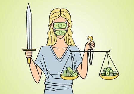 outrage: Corrupt justice. Illustration