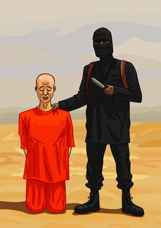 Le terroriste se prépare à exécuter les otages dans le désert dans le Moyen-Orient.
