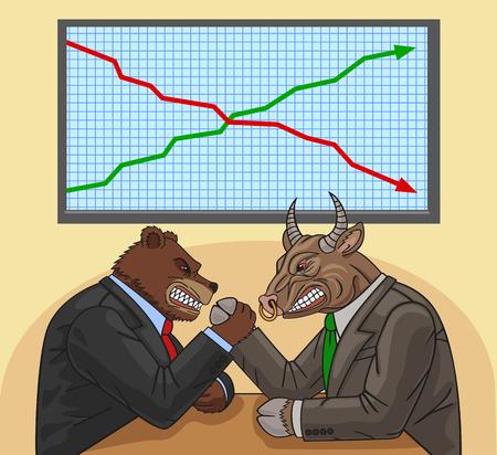 Beer en stier met elkaar vechten voor de financiële impact.