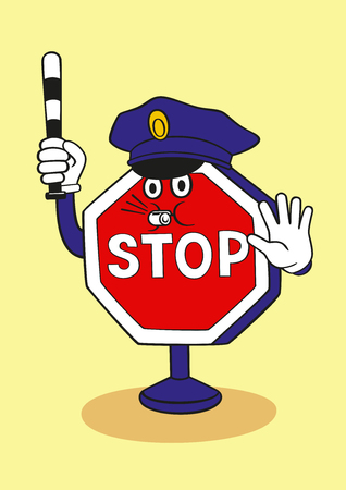 Cartoon stop sign commands you to stop. Vector Illustration