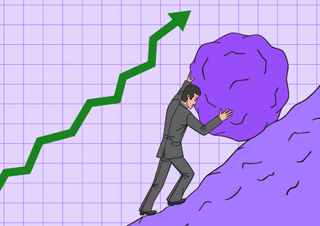 sisyphus: A businessman needs to do a lot of work to succeed.