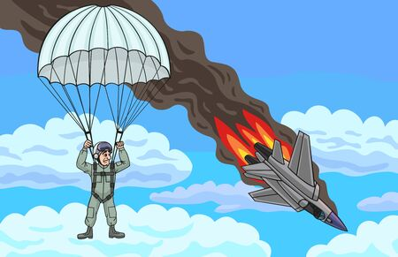 fighter pilot: The plane crashed, but the pilot managed to escape. Illustration