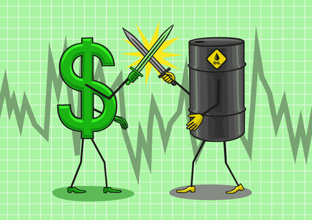 travesty: Oil and the dollar fighting for its price.