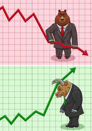 The bear lowers stock prices and the bull increases.