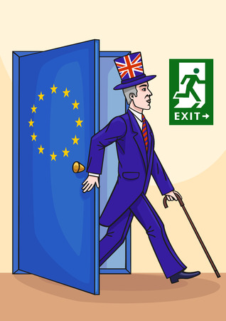 The cartoon shows a British exit from the European Union.