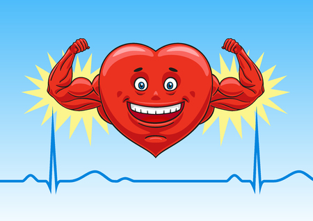 Cartoon heart shows his strength and good muscle tone. Illustration
