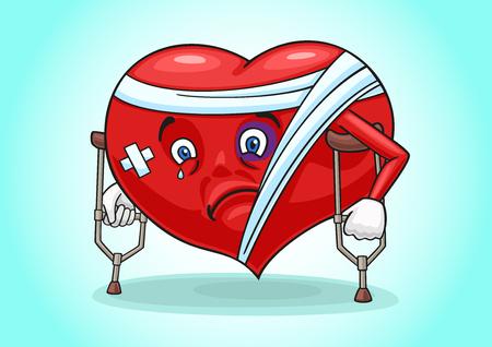 Het beeld toont een ziek hart op krukken. Stock Illustratie