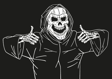 chuckle: Dead man smiling and showing a gesture that he was pleased. Illustration