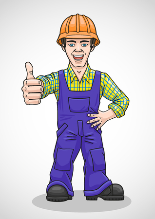 coverall: The employee is satisfied with the quality and shows it with a gesture. Illustration