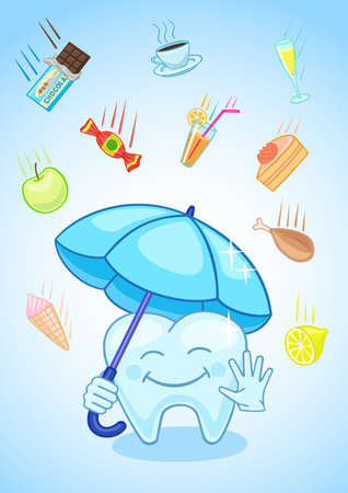 defend: Tooth closed the umbrella and was ready to defend myself against meals. Illustration