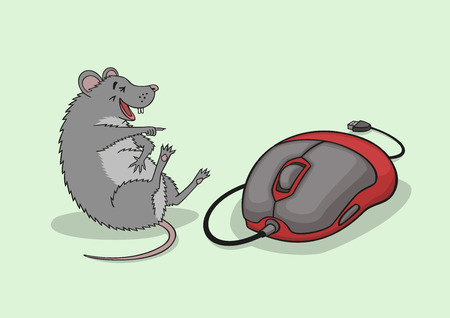 poke: The mouse laughs on seeing a computer mouse.