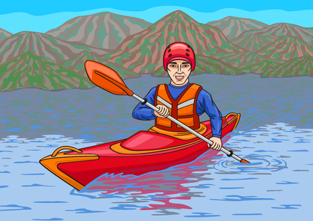 creek: The kayaker is in the water campaign. Illustration