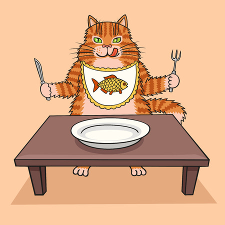 The cat sits at the table and beg for food.