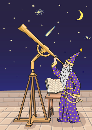 astrologist: The astronomer at the telescope.