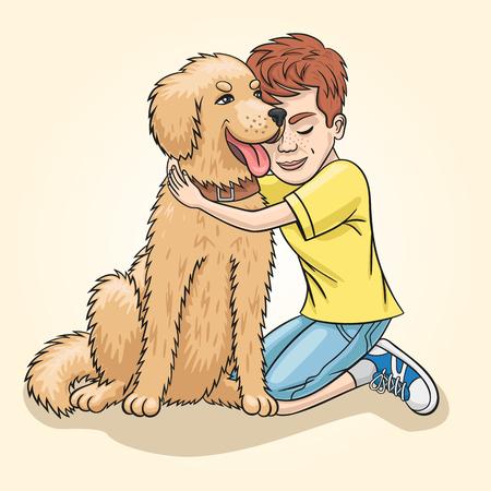 Boy and golden retriver.