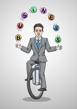 Businessman riding a unicycle juggling balls.
