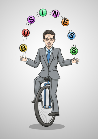 Businessman riding a unicycle juggling balls.