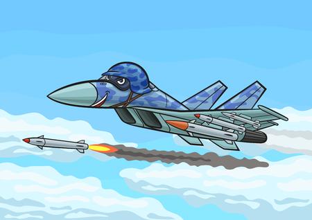 su: Cartoon fighter fires a rocket. Illustration
