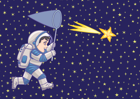 spacesuit: Boy astronaut catches a falling star.