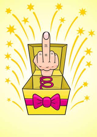 Humiliating prize middle finger. Illustration
