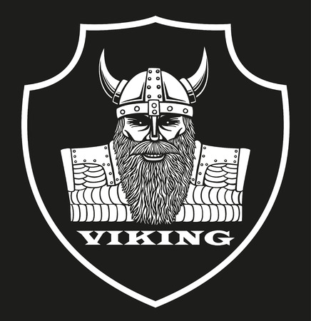 Symbol with a portrait of a Viking 矢量图像