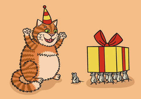 Cat and mouse with a gift. Stock Illustratie