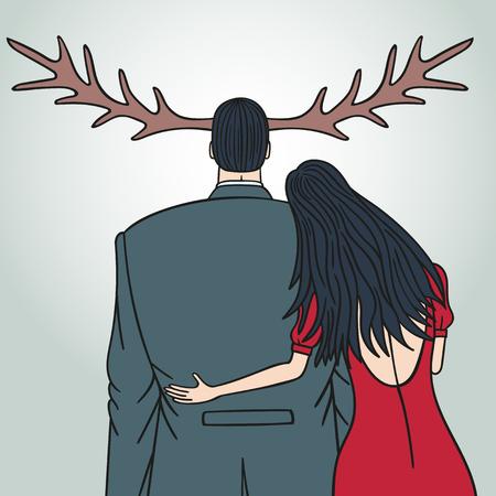 Eine Frau hat ihren Mann betrogen. Der Mann hat keine Ahnung von irgendetwas. Aber er ließ Hörner wachsen.