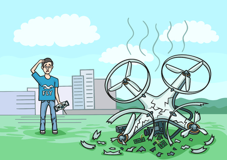 The boy lost control of the drone and he fell and was badly broken. Illustration