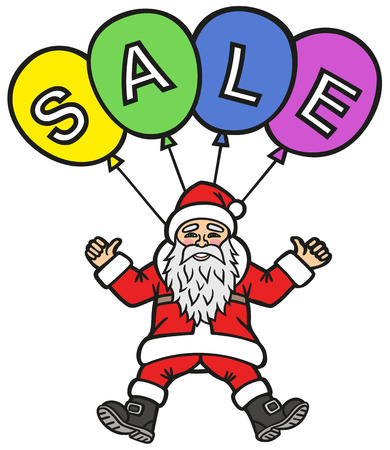 Christmas sale. Santa Claus invites you to visit the store.