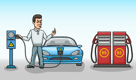 Electricity is cheaper and more environmentally friendly than gasoline. Illustration