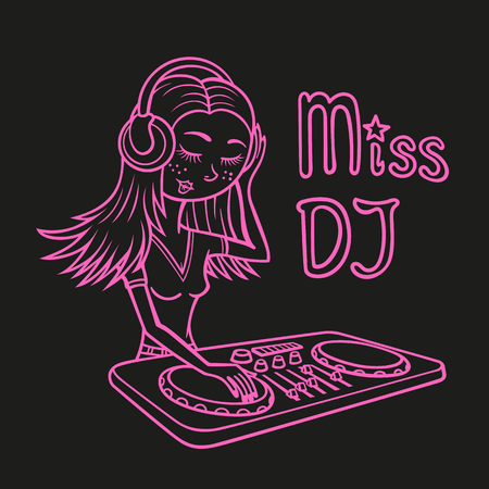 Contour drawing depicts a cartoon girl DJ who plays music on the DJ console.