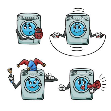 Frequent breakdowns of washing machines in the form of cartoons.  イラスト・ベクター素材