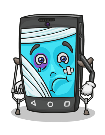 Cartoon smartphone is very damaged and now he needs urgent help of a repairman. Illustration