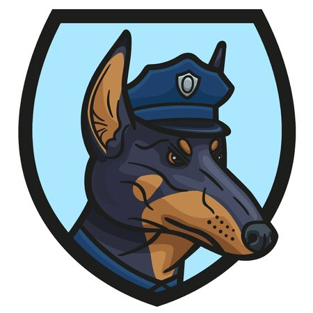Emblem with a police Doberman Pinscher in an officer s cap.
