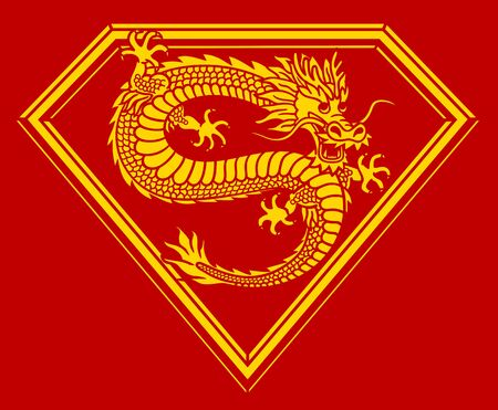 Stylized Chinese dragon on red background. The Symbol Of China.