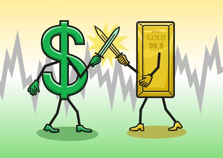 Gold prices against the dollar, jumping up and down. Ilustrace