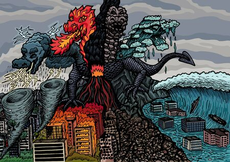 The dragon of the apocalypse destroys the city. The monster caused a tornado, a volcanic eruption, a fire, an earthquake, a tsunami.