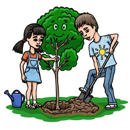 Children plant a tree. Boy working with a shovel. The girl helps to hold the tree.