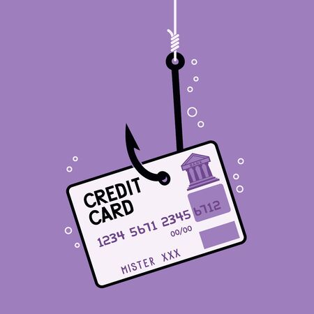 A cartoon depicting a credit card in the form of a hook attachment. Ilustrace