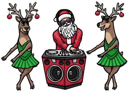 Santa Claus became a DJ. He plays music at the DJ console. Deer dressed up in dresses and dancing go-go. Illustration