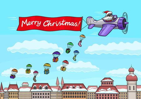 Santa Claus flies on a plane over the city and congratulates everyone on Christmas. Illustration