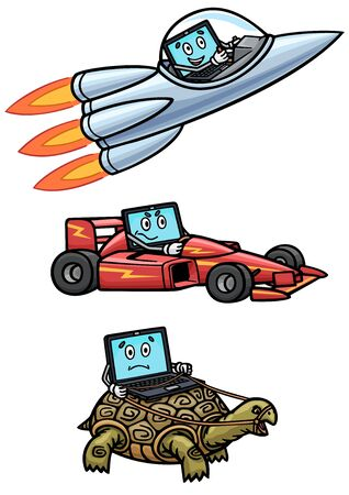 A computer can be fast as a rocket, agile as a race car, or slow as a turtle.