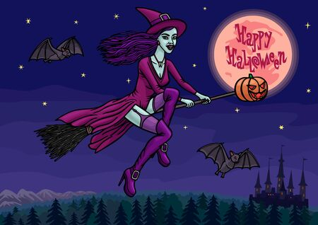 A young beautiful witch in a sexy dress flies on a broom at night to a Halloween party in the company of bats.