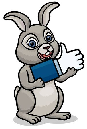 The little rabbit carries a like icon that he will give to the one who liked it. Illustration