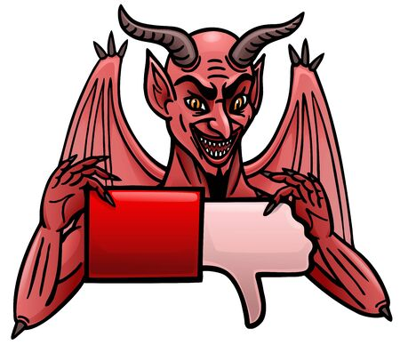 A cartoon demon holds out a dislike icon.
