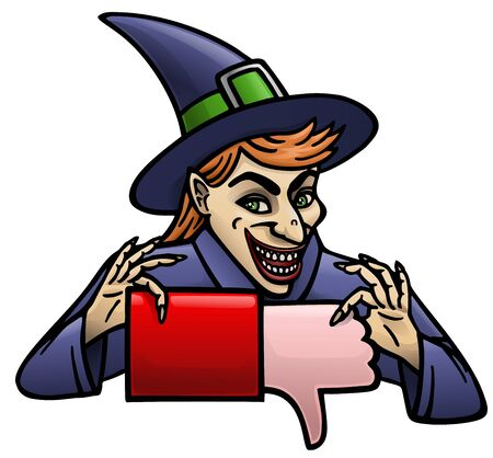 Cartoon witch insidiously gives your dislike sign.