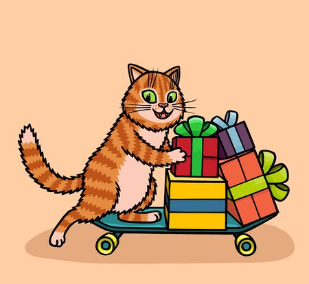 The cat works as a courier in the delivery service. He delivers orders on a roller board.