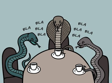Venomous snakes communicate with each other in cafes.