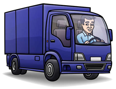 Isolated cartoon image of a blue van.